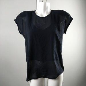 Escada Navy Short Sleeve Sheer Two piece Cami Top